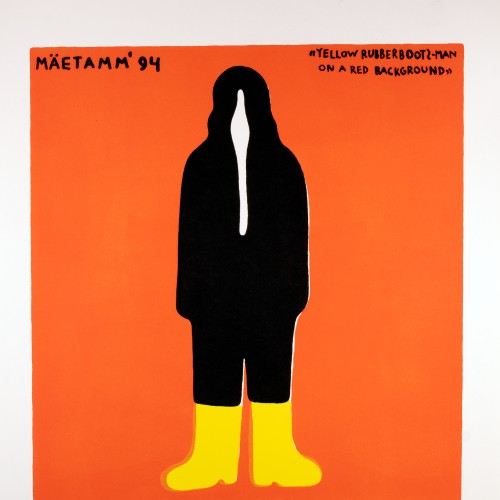 Yellow Rubberboots-Man on a Red Background, 7/14
